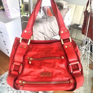 Authentic Jimmy Choo Tote Bag. Color: Coral red